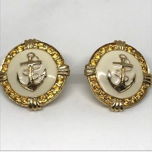 Vintage Gold and Cream Anchor Stud Earrings